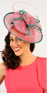 Rose Pink Green Circle Edged Fascinator F1451