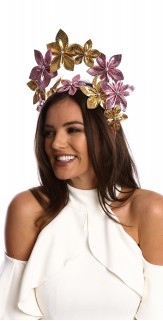 Linen Gold Leather Flower Crown Headband Fascinator H1802