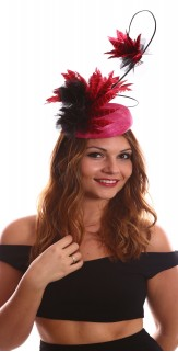 Hot Pink Black feather roses Fascinator H1718