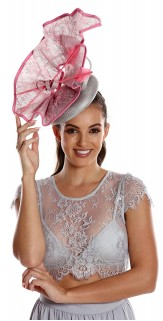 Silver Grey Rose Pink Fascinator Feathers and lace H1628