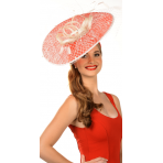 Red White Sinamay Fascinator nets and feathers H1432