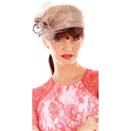 Coffee Brown Fascinator Mini Hat and Swirl Sinamay F1430