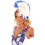 Blue White wave fascinator with large silk rose H1419