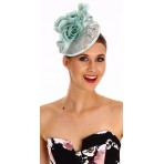 Mint Green Fascinator with Bunch of Roses F1525