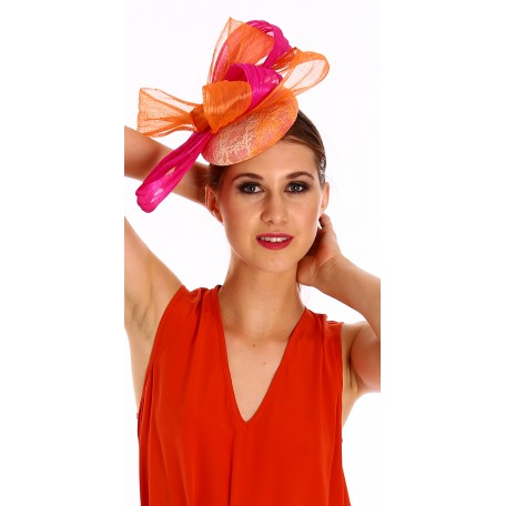Hot Pink Orange Lace pillbox Fascinator with bows H1558