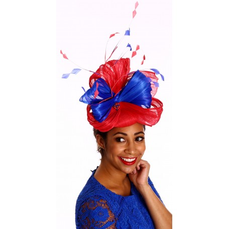Red Blue Silk Pillbox  bows pearls Fascinator H1562