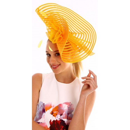 Orange Yellow Swirl Crinoline Fascinator with Bows H1567
