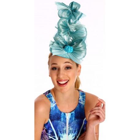 Aqua marine Blue Silk abaca bow fascinator H1576