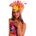 Yellow Hot Pink twotone pleated  fascinator H1602