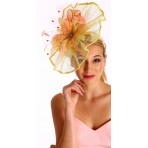 Yellow twist of sinamay fascinator with bows H1622
