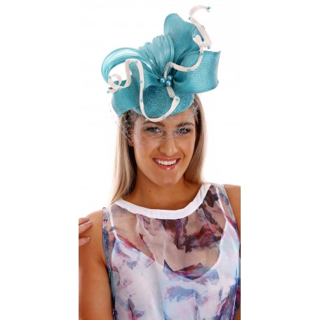 Blue Aqua White Silk Fascinator net pearls H1626