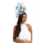 Snorkel Blue Silvergrey Twists And Twirls Feathers Fascinator H1710