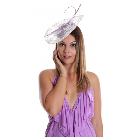 WISTERIA AND WHITE LACE AND FEATHER FASCINATOR H1728