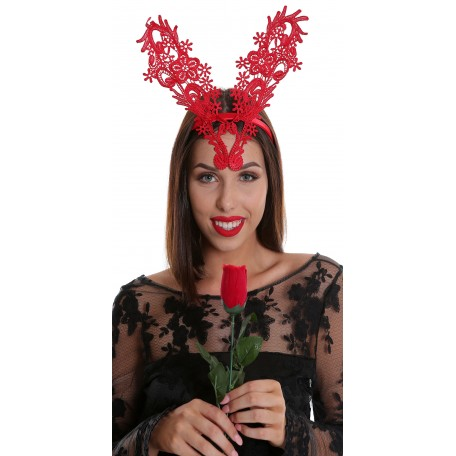 Red Wired Lace Ears Fascinator H1752