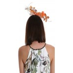 Orange and White Faux Leather Flowers Fascinator H1757