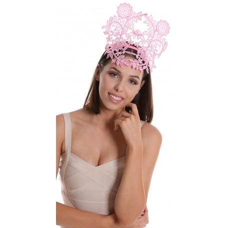 Rose Quartz Pink Lace Crown Headband Fascinator H1760