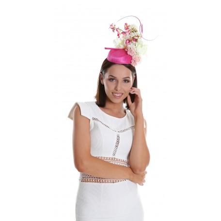 Hot Pink White Silk Abaca Pillbox Fascinator H1806
