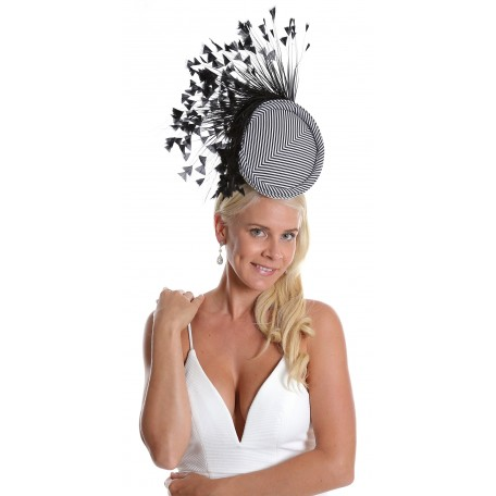 Black and White Pillbox Printed Fabric Spray of Feather Fascinator  H1817
