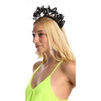 Black Faux Leather Butterfly Headband H1935 Black