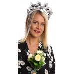Silver Faux Leather Butterfly Headband H1935 Silver