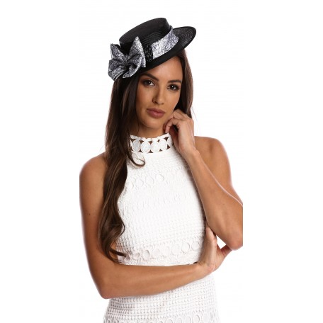 Black and White Boater With Bow S1608