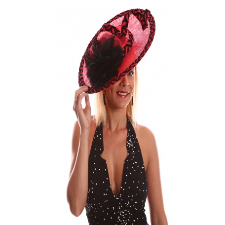 Wide Brim Sinamay With Contrast Braid Red And Black Fascinator S1716