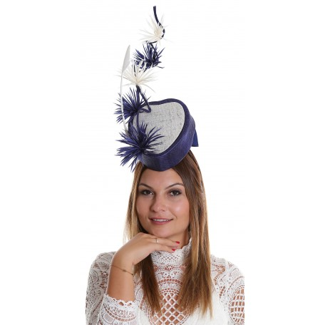 Navy And White Double Heart Pillbox Feathers WS1609