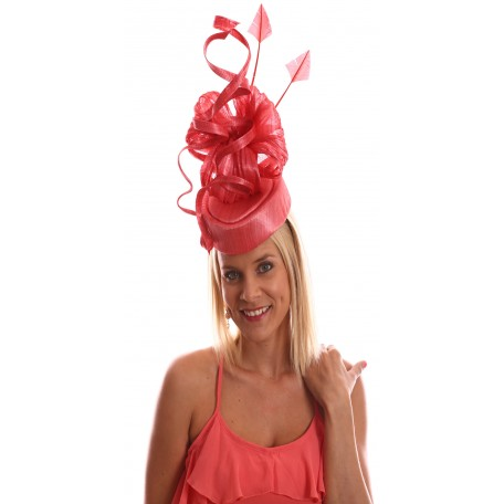 Nectarine Heart Shape Fascinator Bows Feathers H1712