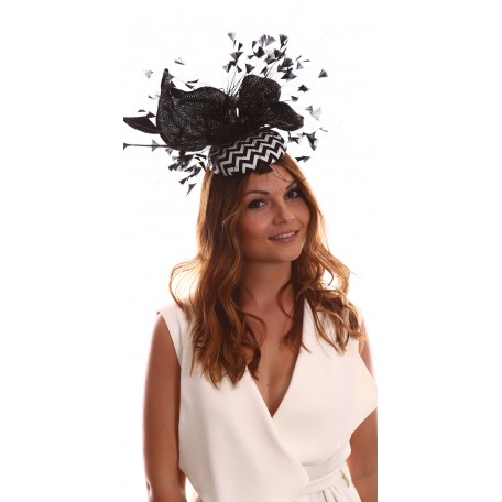 Black White Zigzag Feather Fascinator H1724