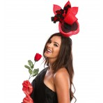 Red Black Fascinator H1915 Red Black