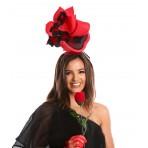 Red Black Fascinator H1915 Red Black