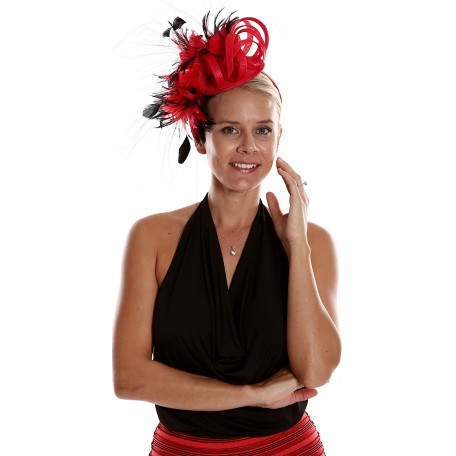 Red Black cascade of flowers fascinator H1408