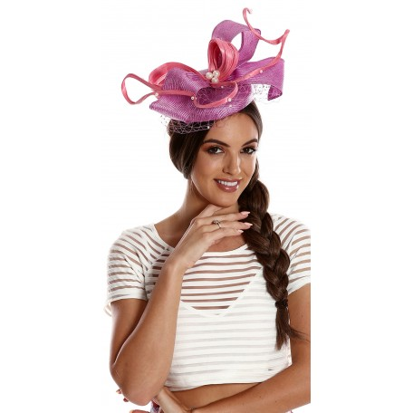 Violet Salmon Lilac White  Fascinator net pearls H1626