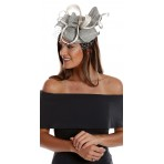 Silver Grey White Silk Fascinator net pearls H1626