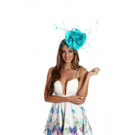 Turquoise Blue High Fascinator Silk Rose H1632