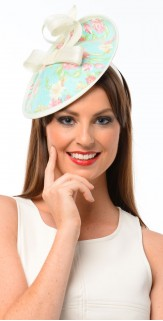 Aqua Pink Flower Circle Sinamay Fascinator F1520