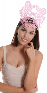 Rose Quartz Pink Lace Crown Headband Fascinator H1760