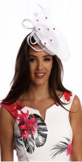 White Pink Flower Fascinator H1819 White Pink