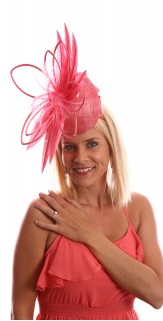 Peach Pink Coral Feather Silk Fascinator H1729